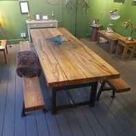 Green Oak Table With Reclaimed Engineers Workbench